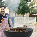Happy man finishing barbecue preparation in his backyard